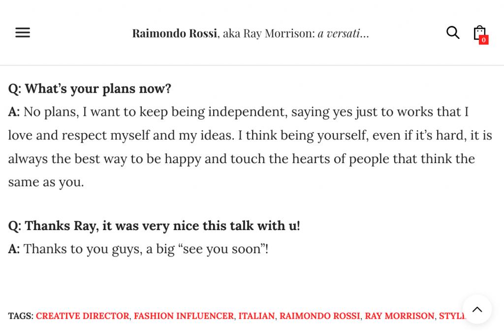 British Thoughts Magazine - Ray Morrison (Raimondo Rossi)